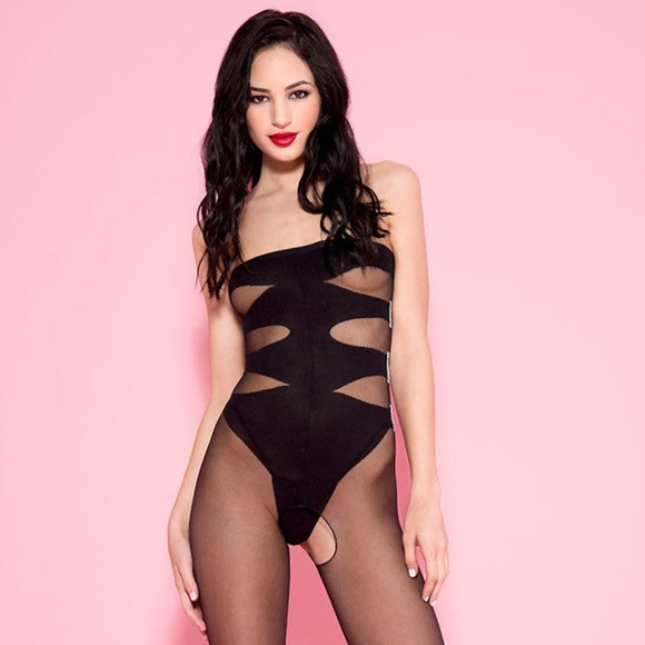 53c50f6963 STRAPLESS TEDDY BODYSTOCKING NEW Black One Size